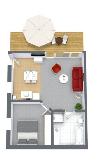 Grub - Zimmer 10 - 3D Floor Plan